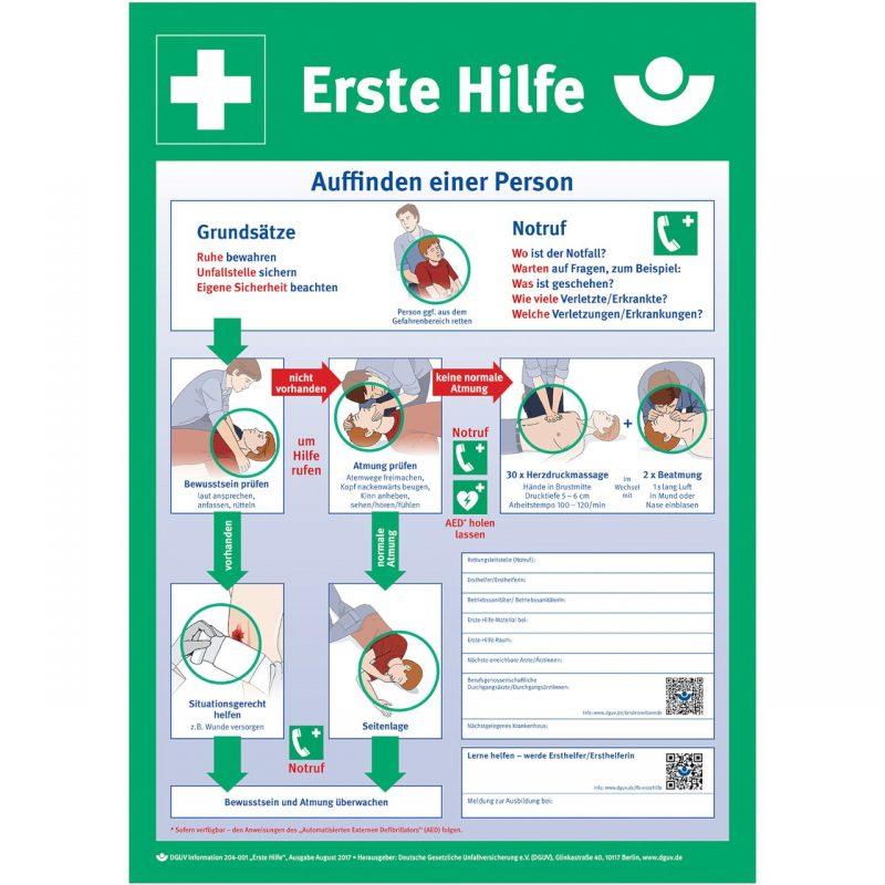 Notfalltafel Erste Hilfe