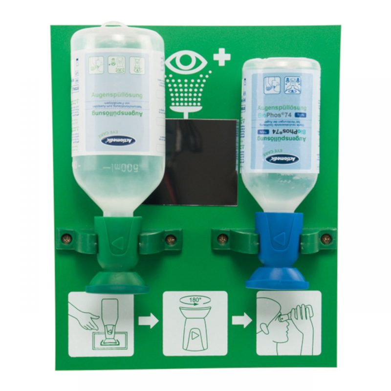 Actiomedic Augenspülstation DOUBLE 2 mit 1 x 250 ml BioPhos74, 1 x 500 ml Natriumchloridlösung
