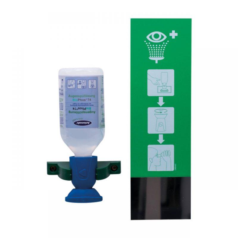 zur einfachen Montage an gut sichtbarer und gut erreichbarer Stelle mit 1 Flasche 250 ml steriler Pufferlösung