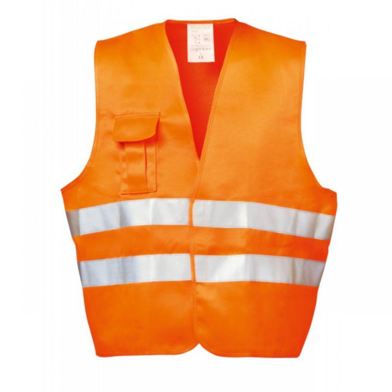 Warnschutzwesten orange mit Handytasche