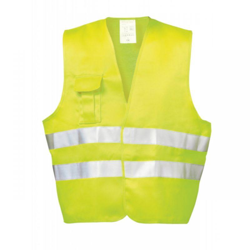 Warnschutzwesten gelb mit Handytasche