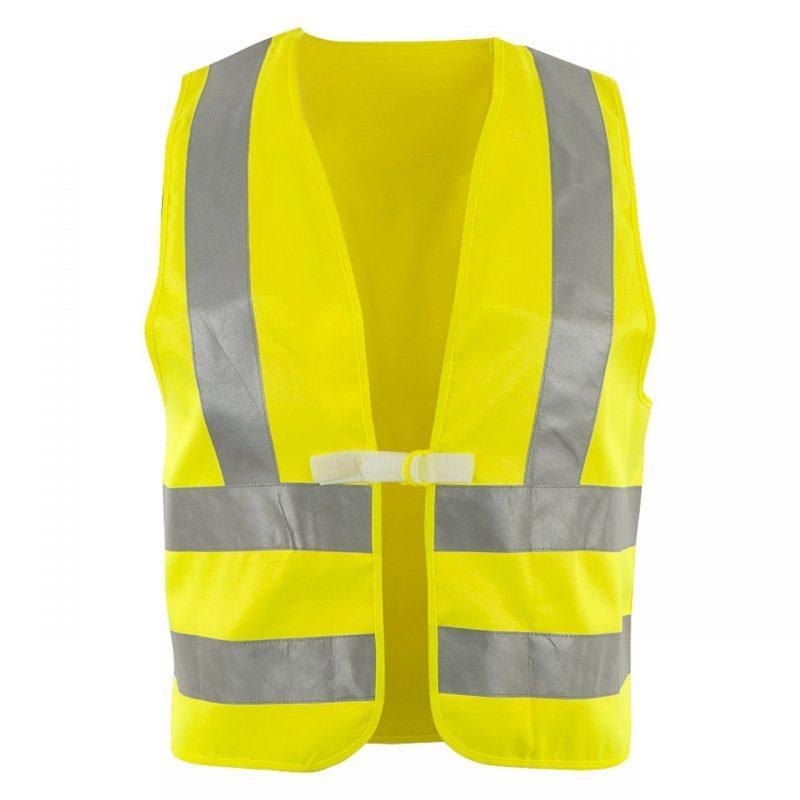 Warnschutzweste Polyester gelb mit Schulterreflexstreifen