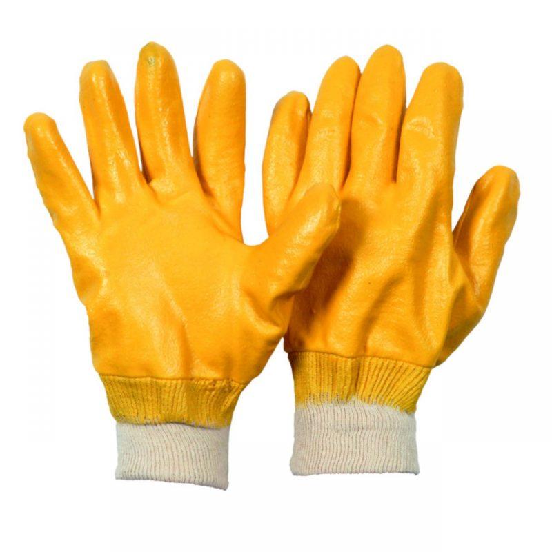 Nitril Arbeitshandschuh gelb vollbeschichtet
