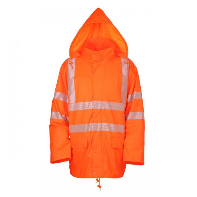 PU Stretch Warnschutz Regenjacke warnorange