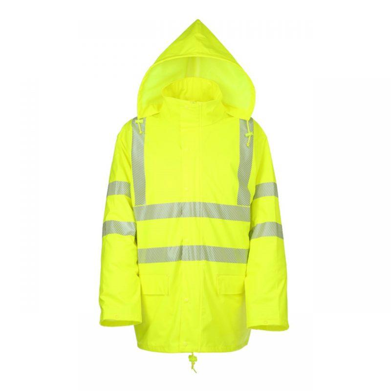 PU Stretch Warnschutz Regenjacke neongelb